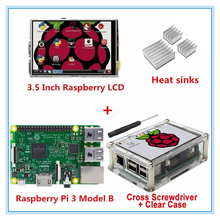 Wholesale Raspberry Pi 3 Model B Board + New version 3.5 Inch SPI TFT LCD Touch Screen Display with Stylus + Acrylic Case