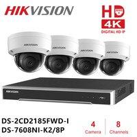 Hik 8ch видеонаблюдения камера системы NVR DS-7608NI-K2/8 P DS-2CD2185FWD-I 4 купольная сетевая камера наборы ИК фиксированной NVR комплекты к