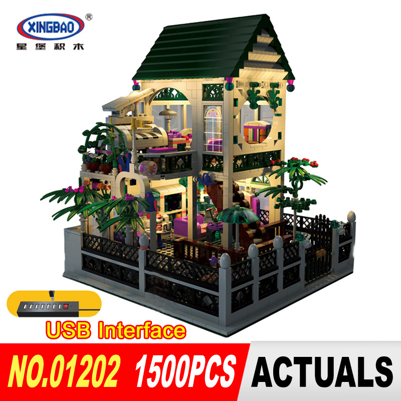 XingBao 01202 1500Pcs CreativeWith USB light Series The the Romantic heart Set Education Building Blocks Bricks Toys model wange mechanical application of the crown gear model building blocks for children the pulley scientific learning education toys