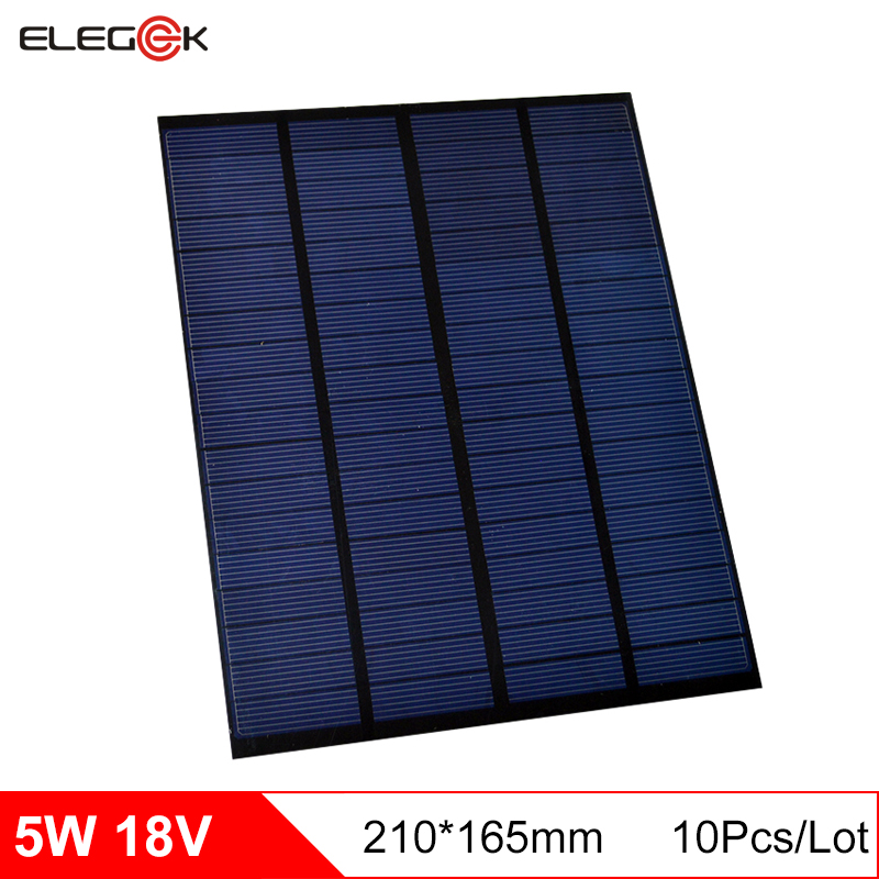 ELEGEEK 10pcs <font><b>5W</b></font> 18V Polycrystalline <font><b>Solar</b></font> Cell <font><b>Panel</b></font> PET Mini <font><b>Solar</b></font> <font><b>Panel</b></font> Charging for <font><b>12V</b></font> Battery DIY <font><b>Solar</b></font> System image