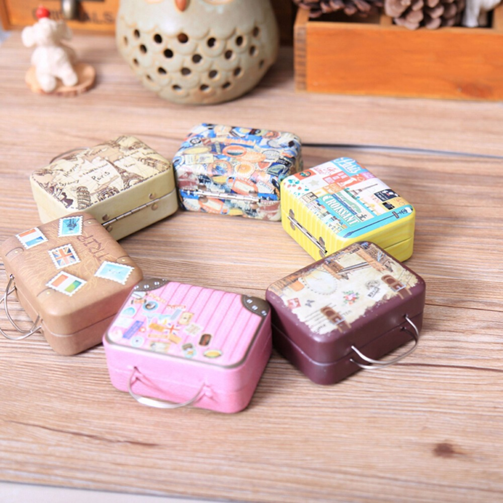New Suitcase Shape Candy Storage Box Wedding Favor Tin Box Cable ...