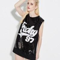 Korean Fashion Sequins Sleeveless Tshirt Women Summer Clothes Harajuku Hip hop Loose Long Tops Tee Shirt Schoolgirl Streetwear