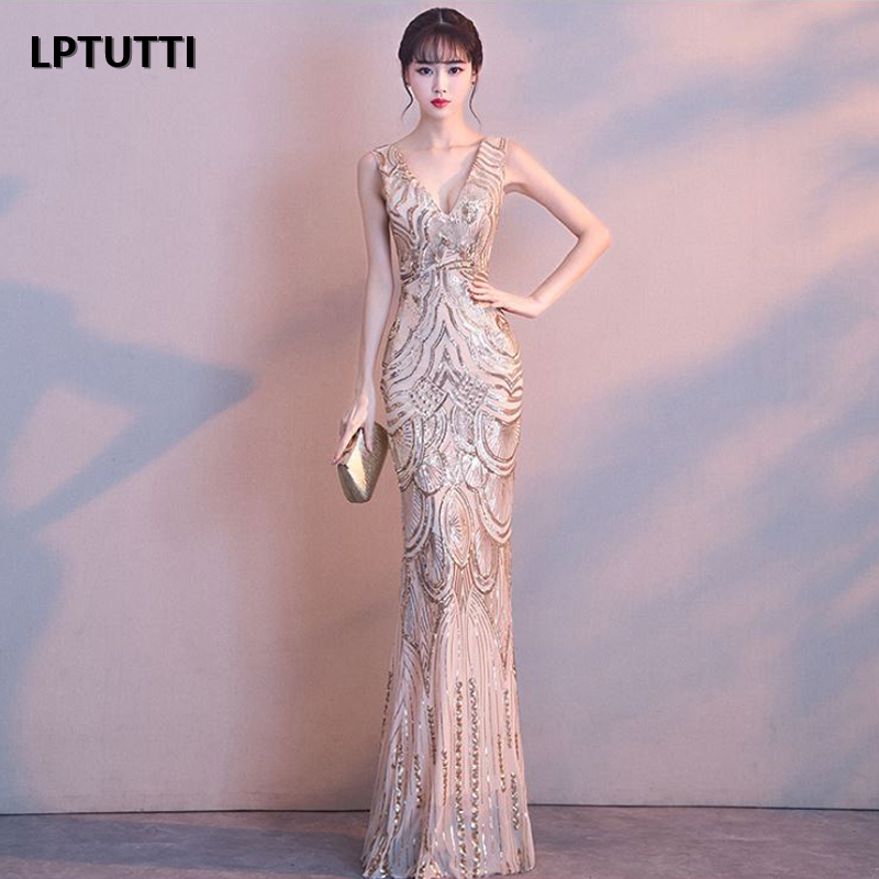 LPTUTTI Sequin V neck Plus Size New For Women Elegant Date Ceremony Party Prom Gown Formal