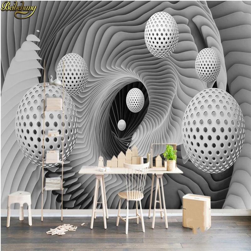 beibehang Custom Photo Wallpaper Mural Wallpaper 3d 3d Ball Space Swirl Modern TV Background Wall papel de parede beibehang ktv gold silver square papel de parede 3d wallpaper rolls tv background of wall paper 3d modern wallpaper for walls 3d