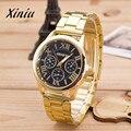 Relógio Xiniu 2017 Chegada Nova Mens Relógios de Quartzo relógio de ouro Dos Homens de Aço Inoxidável Relógio de Algarismos Romanos Dos Homens Vestido Esporte Horas