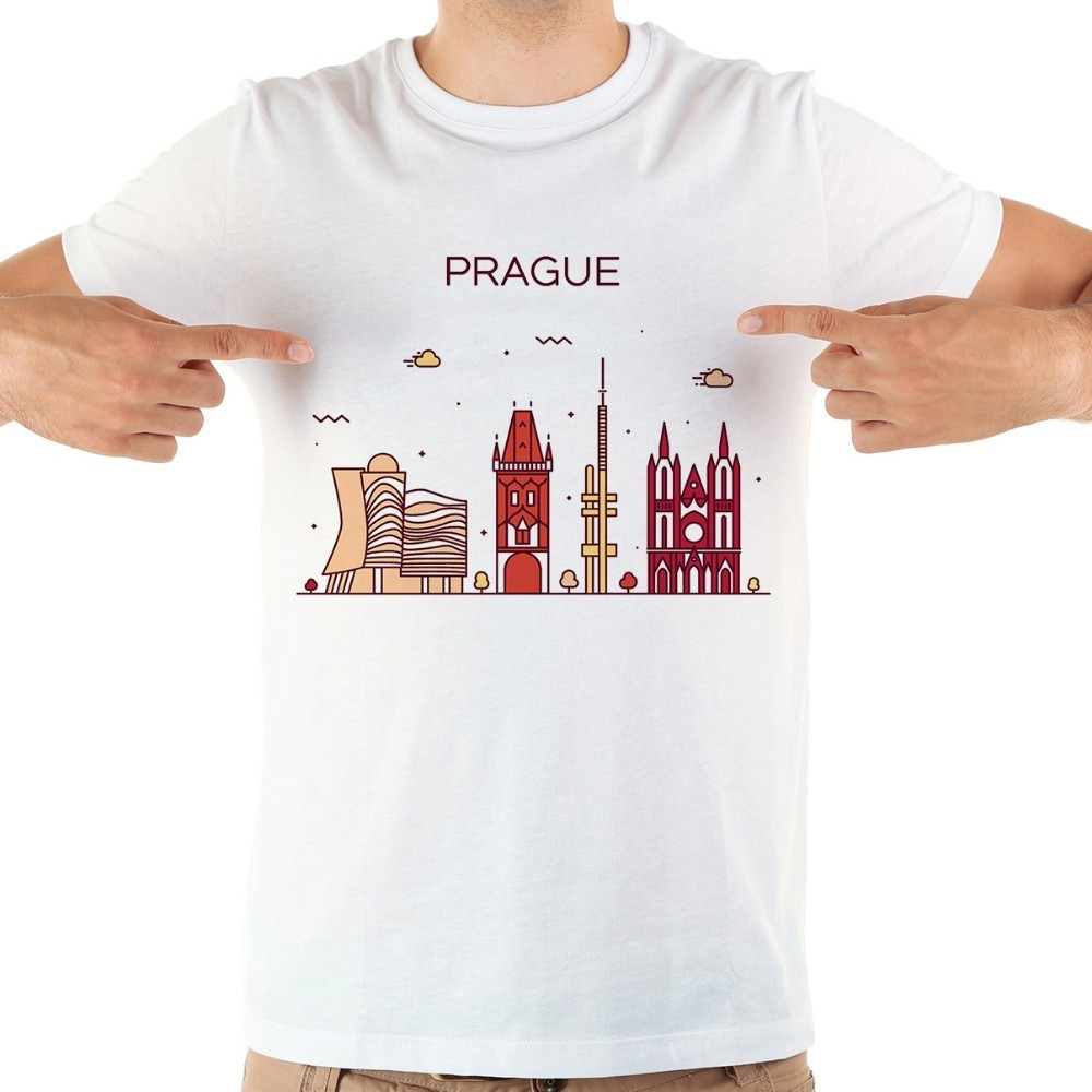 Czech Prague landmark Brief strokes <font><b>funny</b></font> <font><b>tshirt</b></font> men new white short sleeve casual homme cool t shirt image