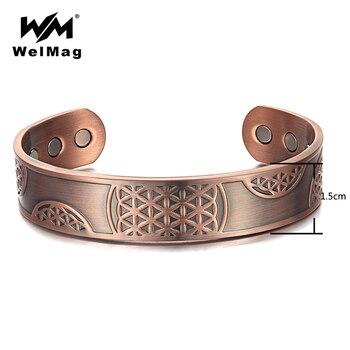 e8bce6935245 WelMag clásico de los hombres magnético pulseras brazaletes cura el dolor  de la artritis alivio terapia puro brazalete de cobre joyería Unisex  ajustable
