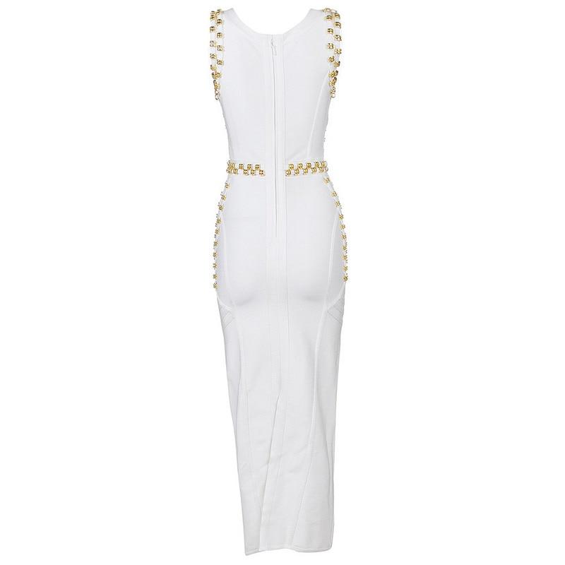 Rayonne blanc Blanc Dames Luxe Noir Sexy Designer Robe Noir Qualité De Moulante 2016 Bandage Longue Top Perles OfaYwvq