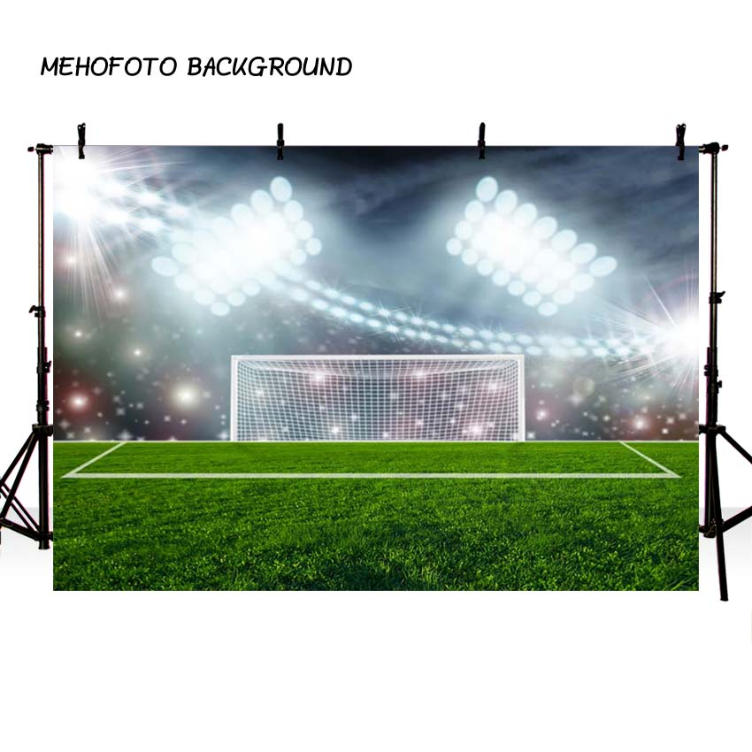 MEHOFOTO Terrain De Football Sport Photographie toile de Fond Projecteurs Stade Photo Fond D'anniversaire Photo Booth Toile de Fond 121