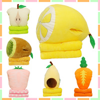 wholesale Cartoon fruit feather cushion Cute watermelon cartoon pillow Anime toy baby kids sleep appease doll birthday/Xmas gift