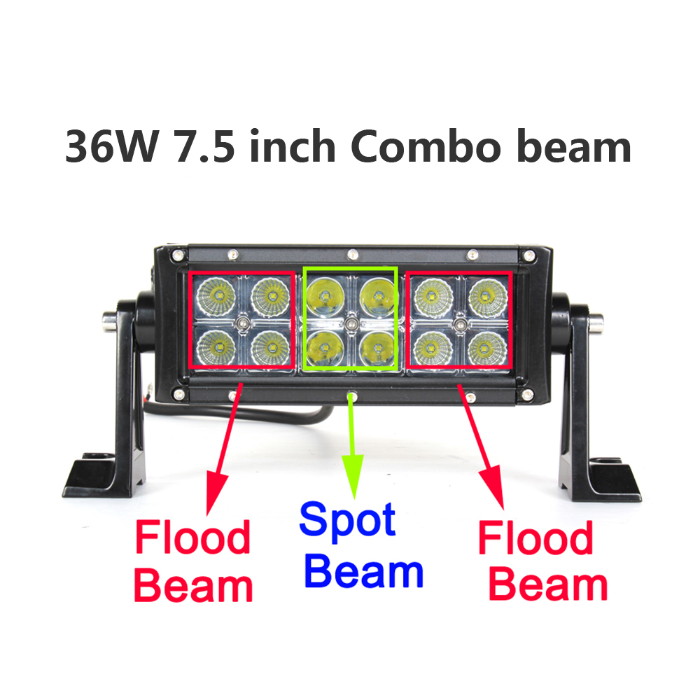 ECAHAYAKU 7 5 inch 36W LED Work Light Bar for Motorcycle Tractor Boat Off Road 4WD 4x4 Truck SUV ATV Spot Flood fog beam 12v 24v in Light Bar Work Light from Automobiles Motorcycles