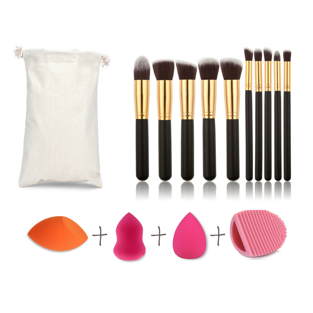 10Pcs Pro Makeup Brushes with Cosmetic Puff Brush Egg Make Up Foundation Powder Blush Brush Sets Pincel Maquiagem Beauty Tools jessup 5pcs black gold makeup brushes sets high quality beauty kits kabuki foundation powder blush make up brush cosmetics tool