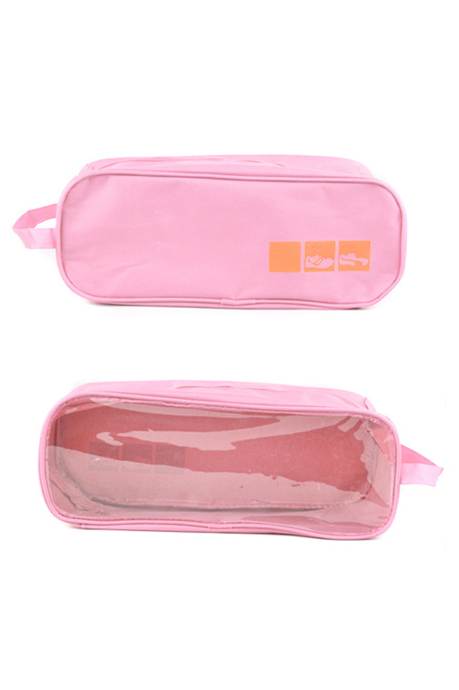 VSEN 2pcs Travel Visual Shoes Box Ventilation Storage Water Resistant Portable Breathable Bag pink italian visual phrase book