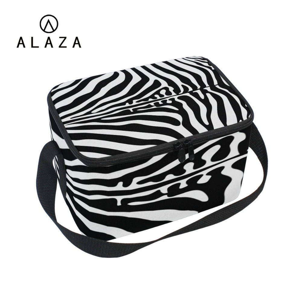 ALAZA Charm Zebra Pattern Cooler Lunch Bag Portable Thermal Multifunction Bag With Long Black Strap Picnic Zipper Lunch Bag 2019