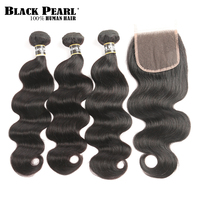 Black Pearl Pre Colored Body Wave Human Hair Bundles With Closure Brazilian Hair Weave 3 Bundles