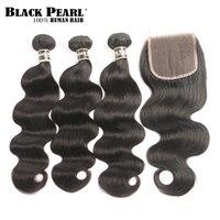 Black Pearl Pre Colored Body Wave Human Hair Bundles With Closure Brazilian Hair Weave 3 Bundles
