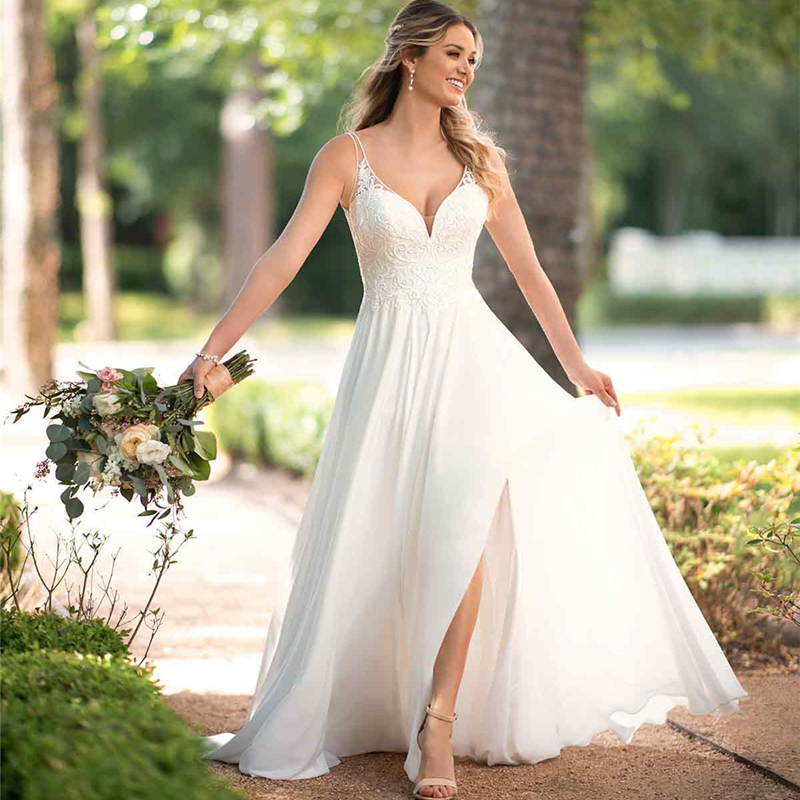 White/ivory Chiffon Beach Wedding Dress  2019 Floor Length Wedding Dresses Appliqued with Lace Princess Wedding Gowns