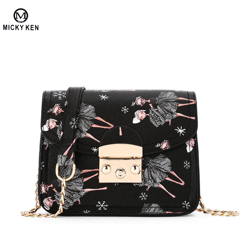 цены  Mini Flap Bag 2017 Summer Newest Women Messenger Bags Lock Chain Small Crossbody Bag Ladies Fashion Printing Flap Shoulder Bag