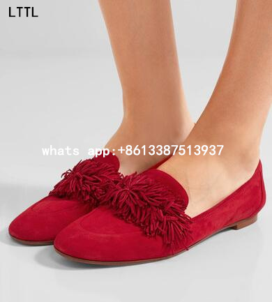 Spring 2017 New Brand Hot Fashion Women red/gray/red wine/army green/blue Tassel Fringed Slip On Casual Flat Shoes Flats Ladies