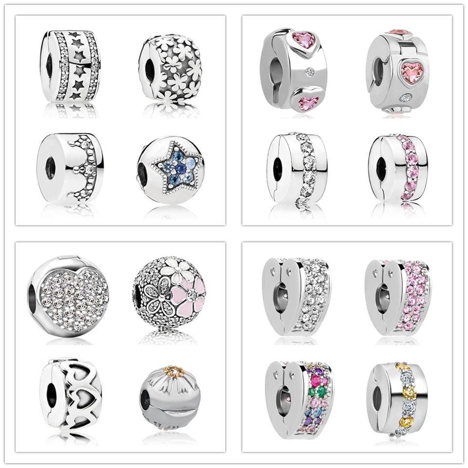 DIY charm Pandora charm copper spacer clip bead Path Star love heart charm fit European Pandora Bracelet DIY women jewelry(China)