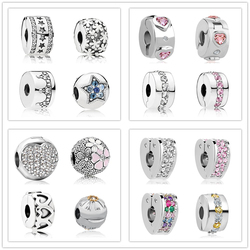 free shipping silver plated copper spacer clip bead Path Star love heart charm fit European Pandora Bracelet DIY women jewelry