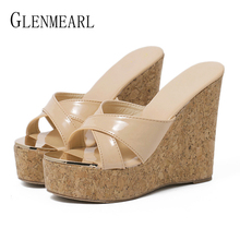Women Slippers Wedges Shoes Platform Flip Flops Summer Shoes High Heels Peep Toe Woman Sandals Beach Shoe Thick Heel New Arrival недорго, оригинальная цена