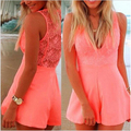 V-neck Lace Patchwork Playsuits Women Fashion Sleeveless Solid Jumpsuits Sexy Treacle Overalls Short SK-094