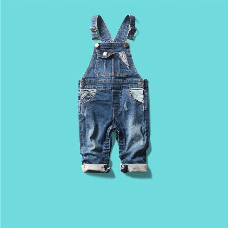 Chegam novas Outono Inverno Macacão de Bebê das meninas dos meninos jeans crianças Recém-nascidas macacão jeans crianças calças duplo macio Denim Bib calças