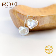 ROXI Heart Pearl Necklace Natural Freshwater Baroque for Women Love Pendant Long Statement Jewelry