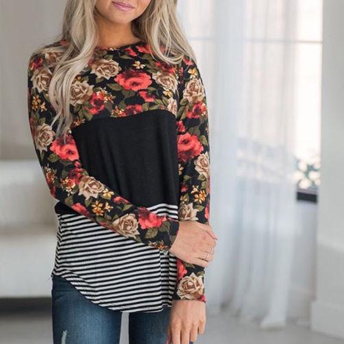 Hirigin font b Women s b font O neck Tops Loose Long Sleeve Casual Floral Striped