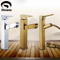 Solid Brass Countertop Bathroom Sink Faucet Pull Out Swivel Spout Basin Mixer Tap For Hot And