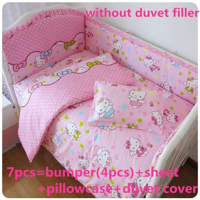 Promotion! 6/7PCS Cartoon Crib Bedding piece Set 100%Cotton crib set baby bedding set , 120*60/120*70cm