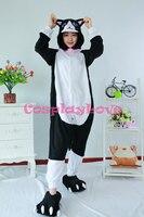 White Face Black Cat Pajamas Animal Cosplay Costume Kid Adult Pajamas Onesies Cartoon Sleepwear Sleepsuit