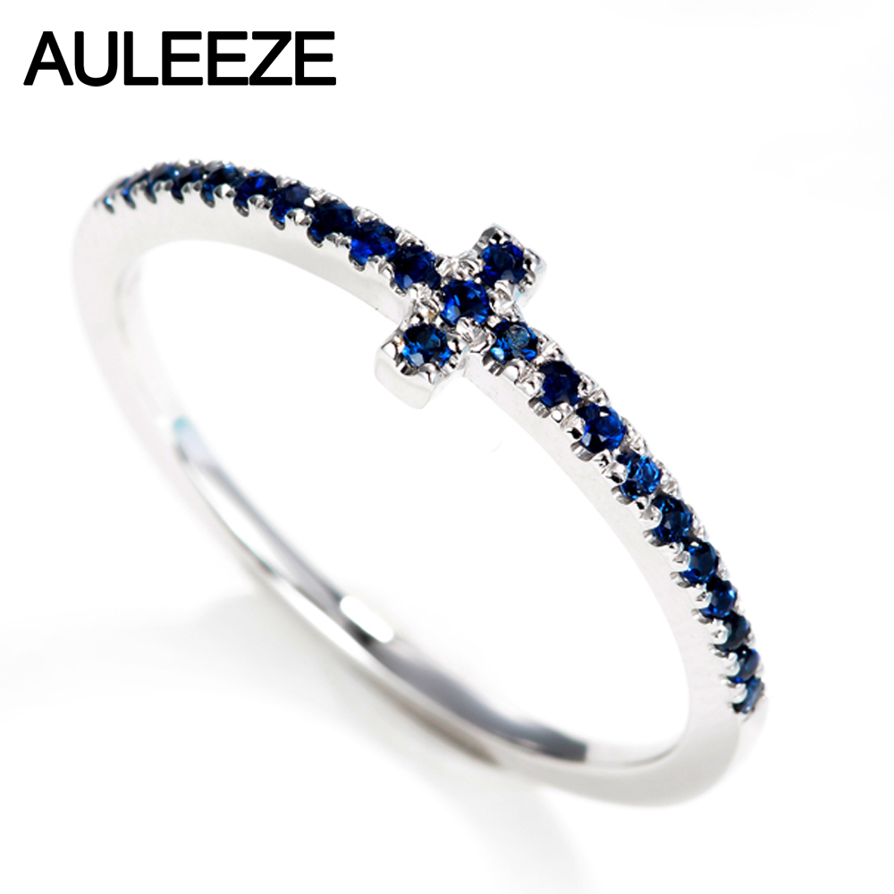 Auleeze Cross Design Natural Sapphire Wedding Band 18k Solid White Gold  Matching Rings For Women Gold