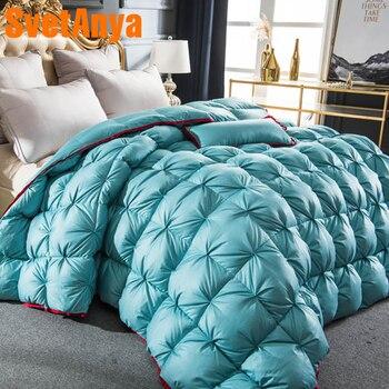 Svetanya 3d Роскошные гусиный пух одеяло ed king queen Полный размеры кашне Зима Толстые сплошной цвет