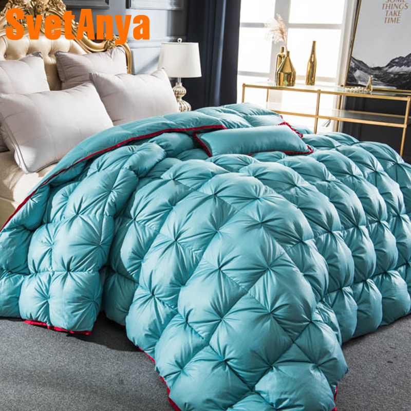 Svetanya 3d Роскошные одеяло на гусином пуху Стеганный килт король, Королева Полный размер одеяло зима теплый плед одноцветное Цвет