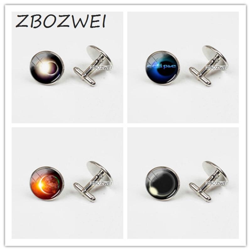 ZBOZWEI 2018 New Earth Solar Eclipse Cufflink Eclipse Logo Mens Shirt Cuffs Round Glass Photo Cufflinks Gifts For Him Handmade