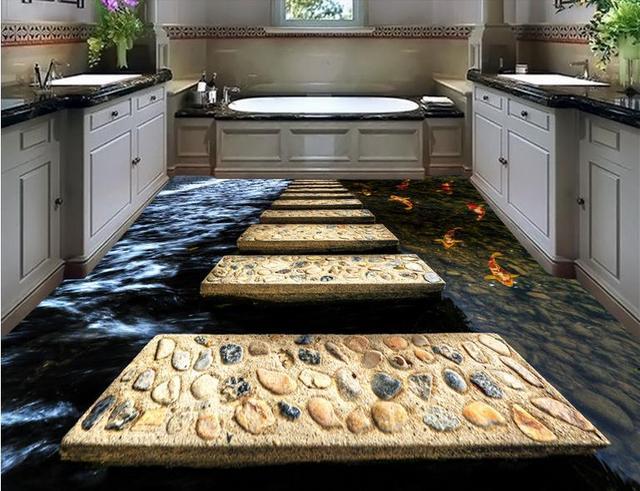 Behang In Badkamer : Luxe vloeren muur papier custom waterdichte behang voor badkamer 3d