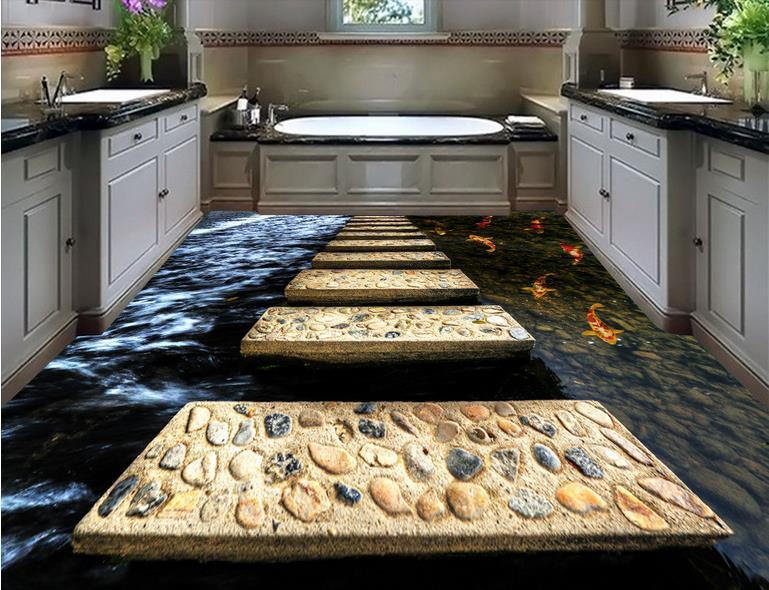 цена на luxury flooring wall paper Custom waterproof-wallpaper-for-bathroom 3d flooring Stone road self-adhesive wallpaper