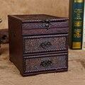 Vintage Caja de Madera Caja de Madera de Joyería Organizador de Maquillaje Maquillaje Cosméticos Cajas Organizador Del Cajón de Escritorio Decoración de La Boda