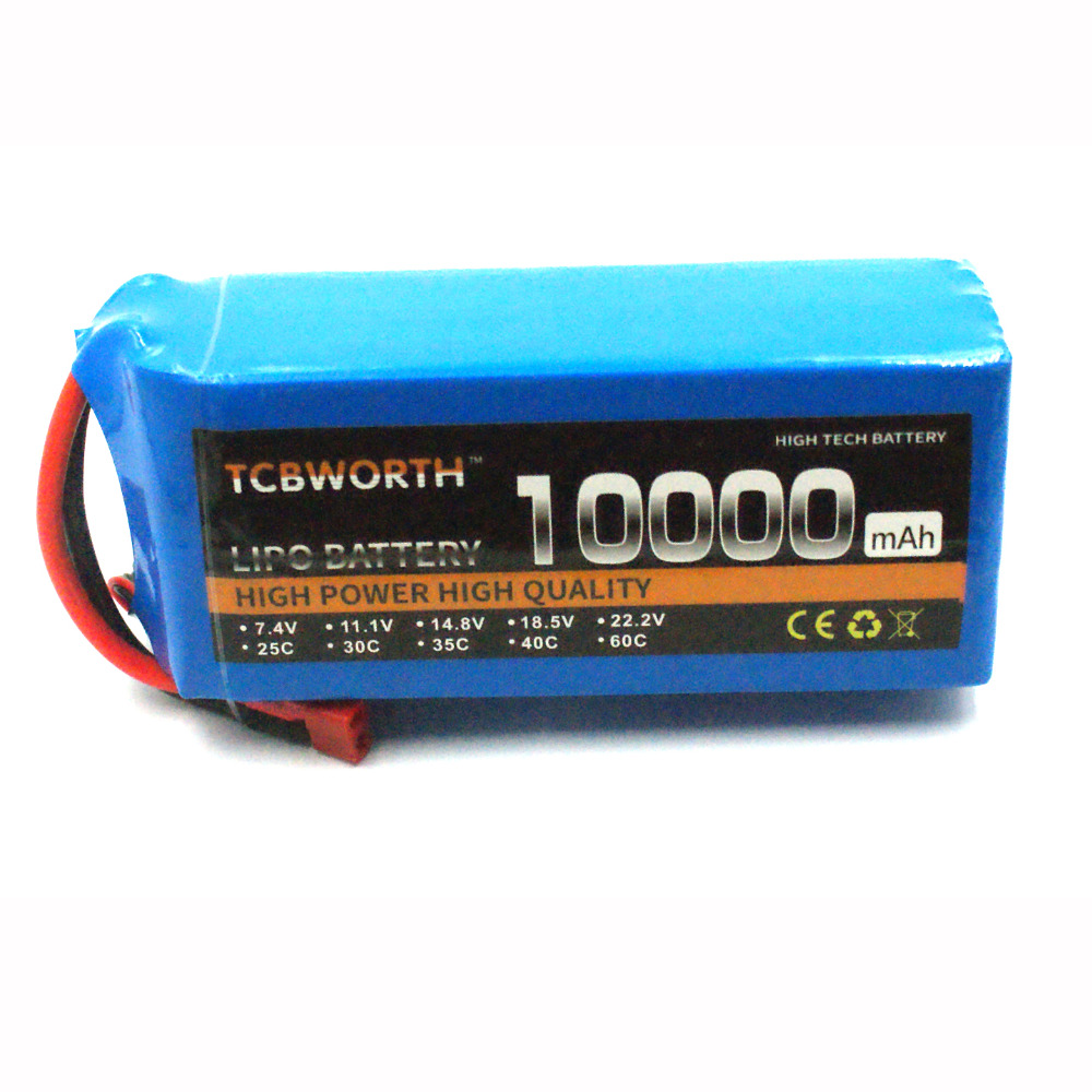 RC Recharge 4s Lipo Battery 14.8V 10000mAh 25C Pour RC Airplane Drone Quadrotor Helicopter Batteria AKKU Free Shipping TCBWORTH tcbworth 2s 7 4v 5000mah 25c rc lipo battery for rc airplane quadrotor