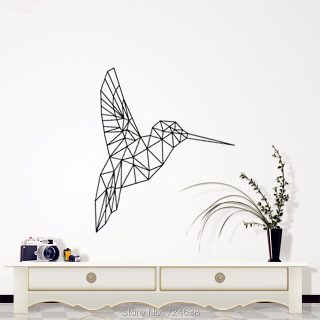 Birds Geometric Decorative Wall Art , Geometric Animals   Kingfisher Decals  3D Visual Effects Vinyl Wall