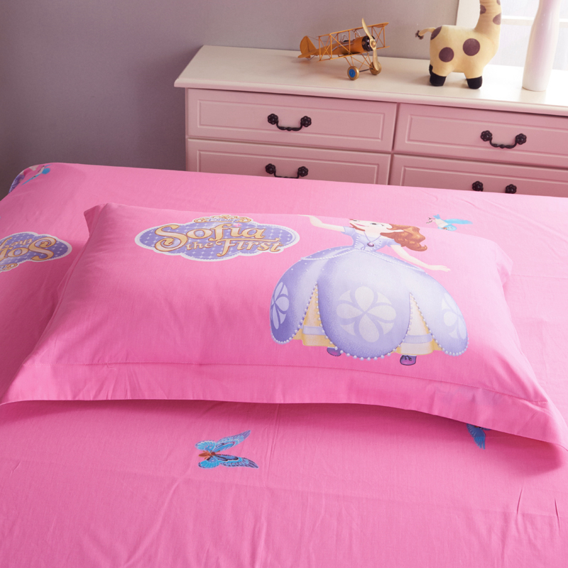 DISNEY Cartoon Sofia The First Bedding Set Pink Duvet Cover Single Double  Queen King Size Bedclothes 4PCS 100% Cotton Beddings In Bedding Sets From  Home ...
