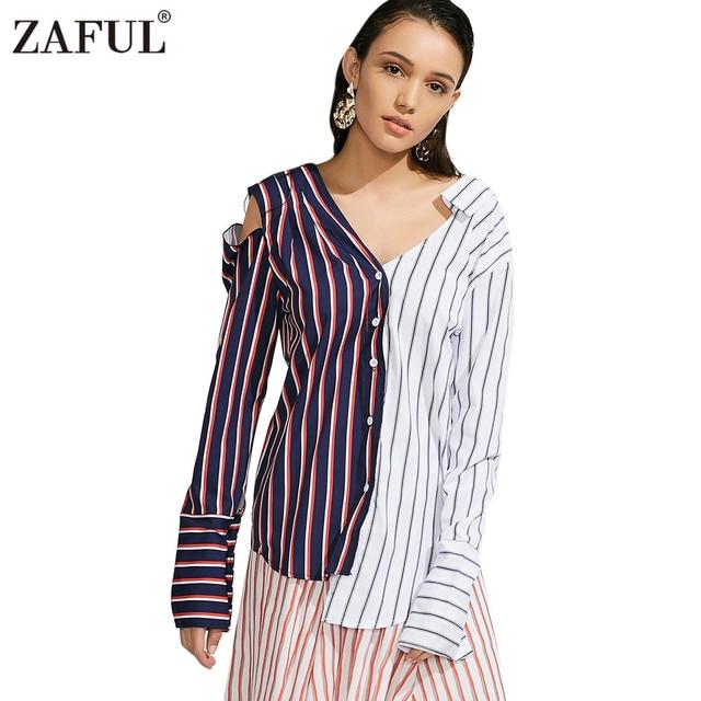 7f00a0d4f ZAFUL Chic Asymmetrical Contrasting Striped Cutout Blouses Shirt Women 2017  Autumn Stylish Long Sleeve V-Neck Blouses Blusas