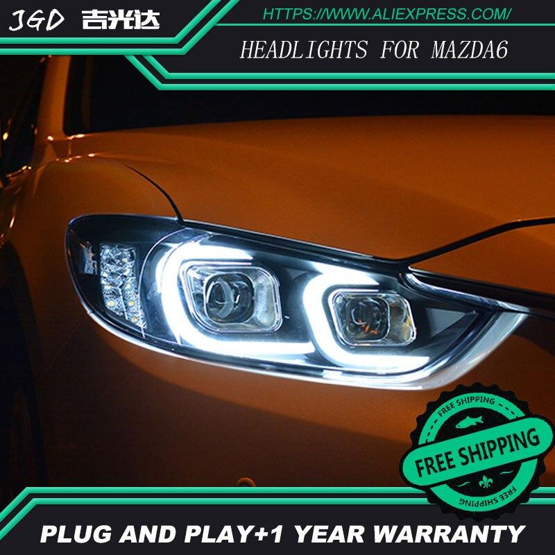 Style de voiture pour Mazda6 phares U angel eyes DRL 2014-2016 pour Mazda 6 ATENZA lumière LED bar DRL Q5 bi xénon lentille h7 xénon