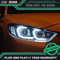 car styling For Mazda6 headlights U angel eyes DRL 2014 2016 For Mazda 6 ATENZA LED light bar DRL Q5 bi xenon lens h7 xenon