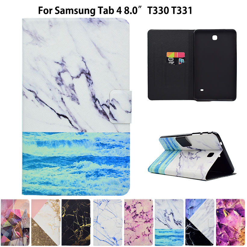 Marble Pattern Case For Samsung Galaxy Tab 4 8.0 T330 T331 T335 Case Smart Cover Funda Tablet PU Leather Stand Shell Sleep&Wake crocodile pattern luxury pu leather case for samsung galaxy tab 4 8 0 t330 flip stand cover for samsung tab 4 8 0 t330 sm t330