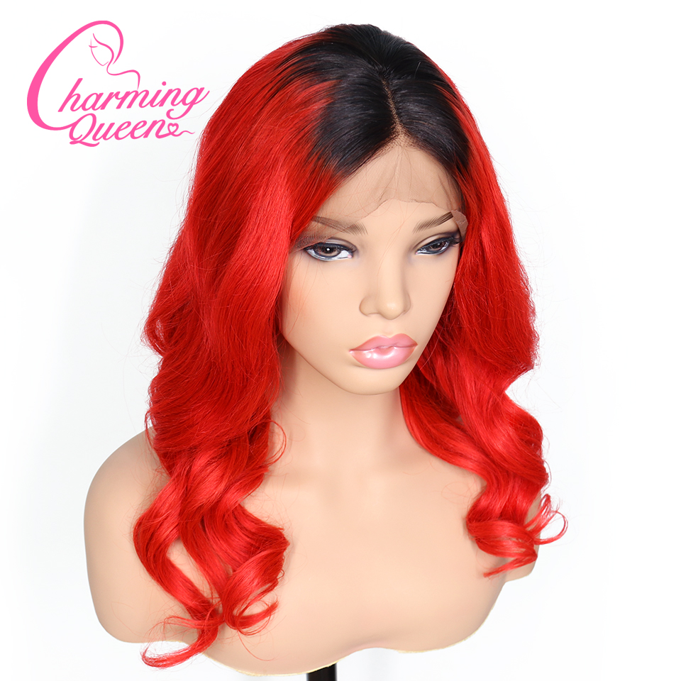 Charming Queen T1B Red Loose Wave Lace Front Human Hair Wigs For Black Women Remy Hair