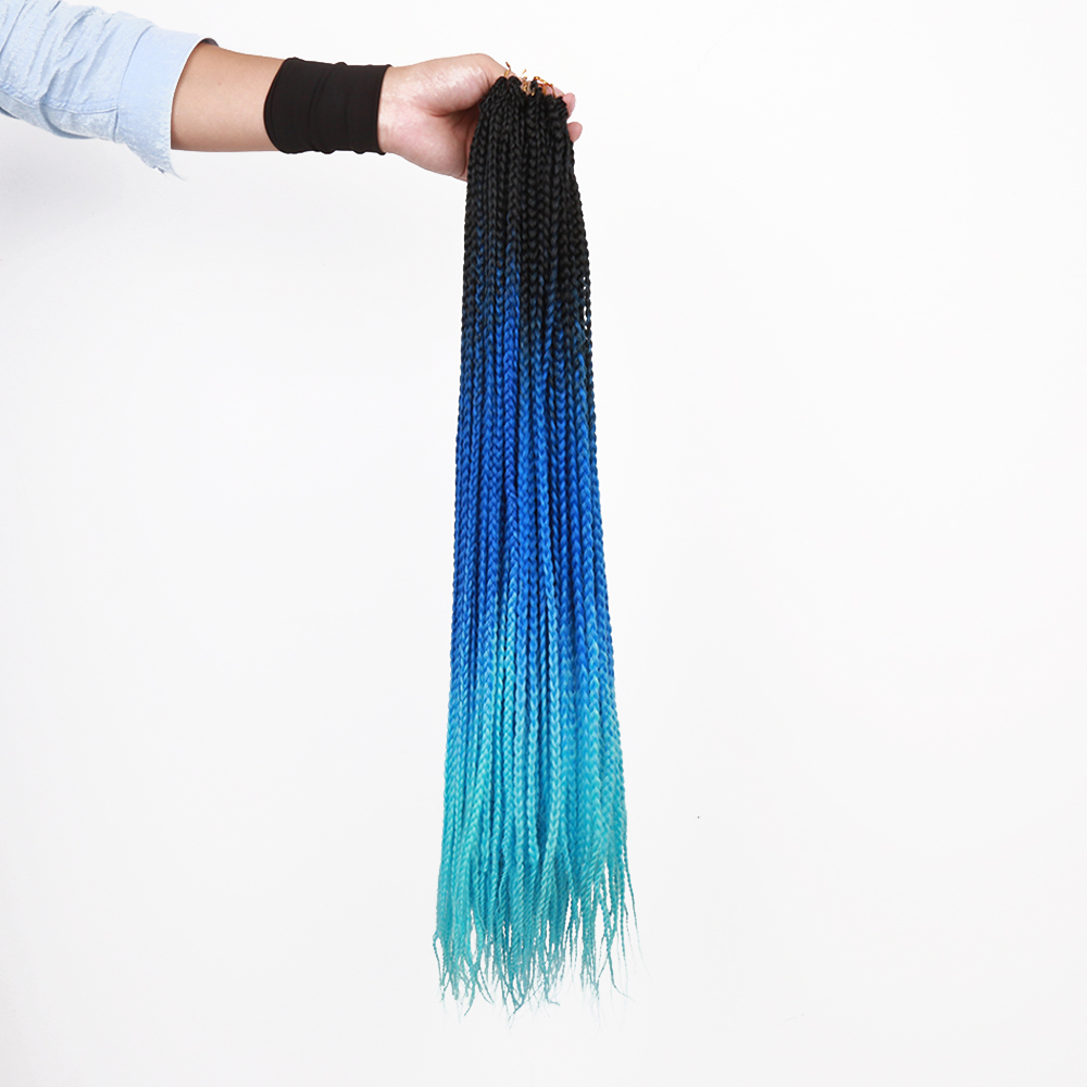 22Strands/Pack Thin Box Braids Crochet Hair 24inch 1cm in Diameter 3X Synthetic Braiding Hair Extensions Golden Beauty