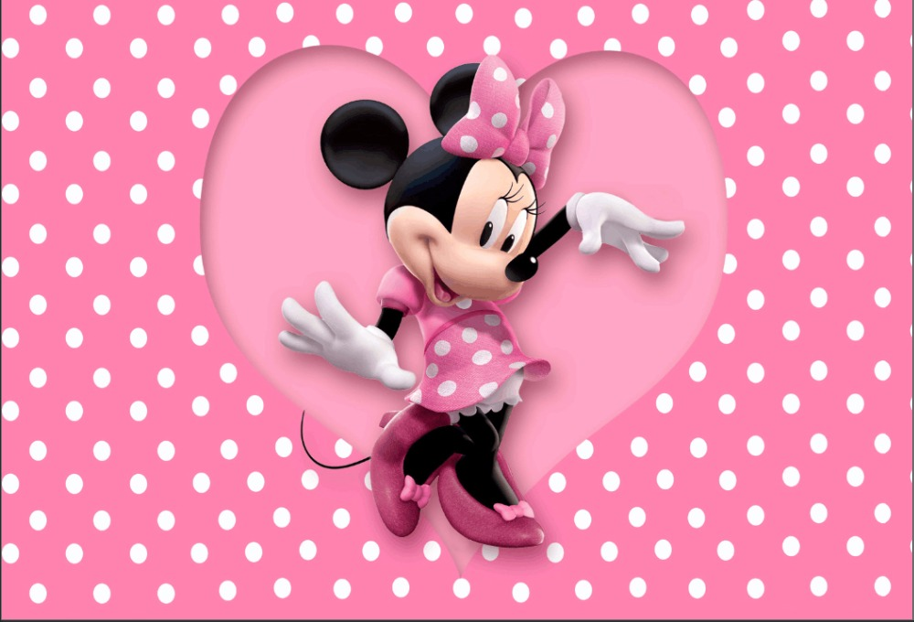 Background Consumer Electronics Punctual Colorwonder Mickey Mouse Photo Background Mouse Minnie With Pink Dress 7x5ft Pink Heart With Red Dots White Backdrop For Girls A Great Variety Of Goods